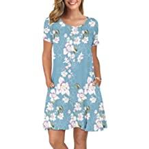 8657716d1 KORSIS Women's Summer Casual T Shirt Dresses Short Sleeve Swing Dress  Pockets
