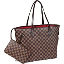 538fb8aab Daisy Rose Checkered Tote Shoulder Bag with inner pouch - PU Vegan Leather